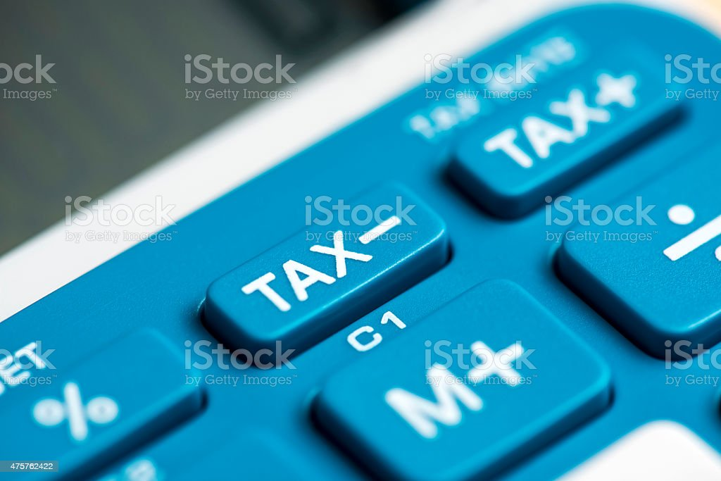 Close-up of blue and white calculator stock photo