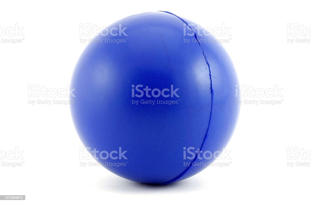 Close-up of blue ball on white background stock photo