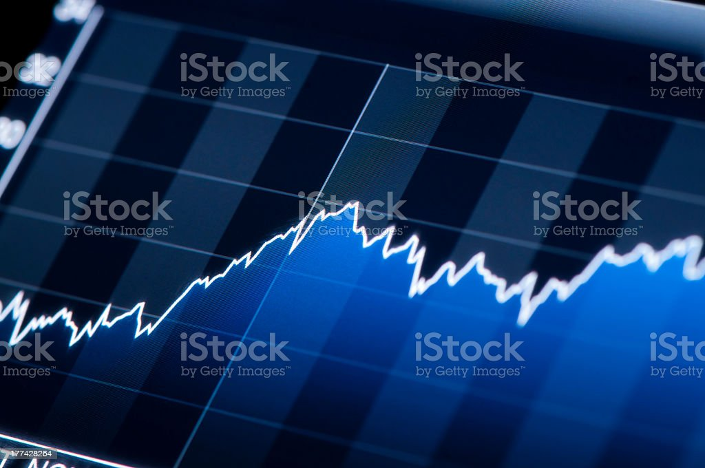 Close-up of blue chart growth progress royalty-free stock photo