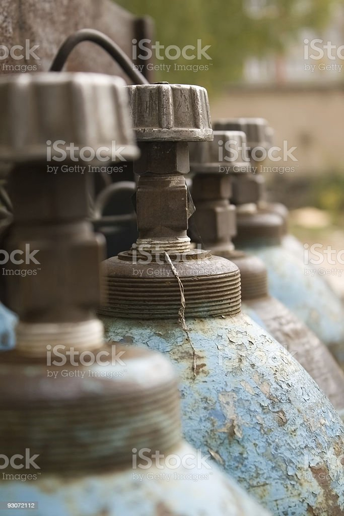 Close-up of blue gas cylinders royalty-free stock photo