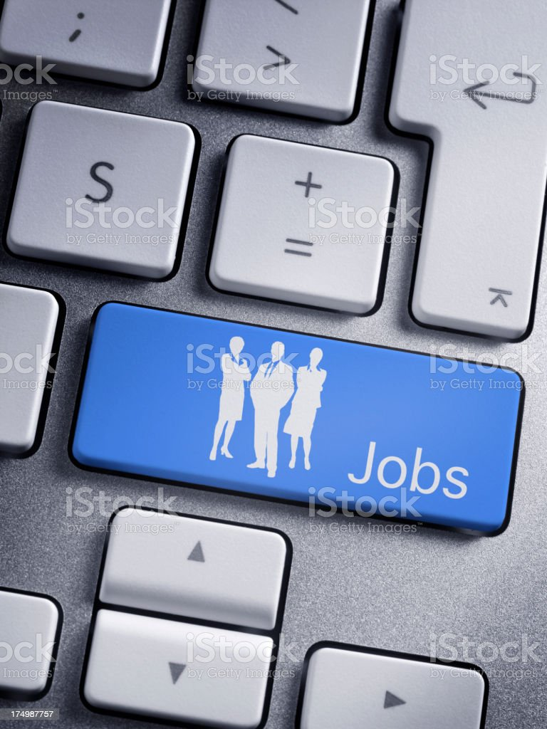 Close-up of blue jobs key on a gray keyboard royalty-free stock photo