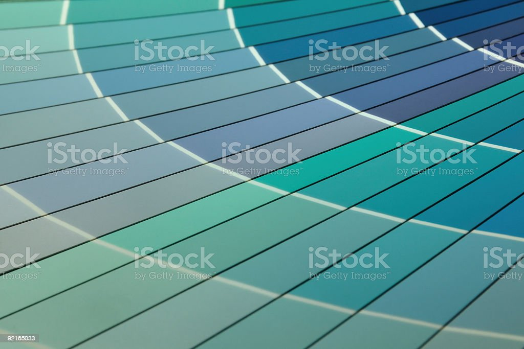 Close-up of Blue Paint Color Chart Fan Deck royalty-free stock photo