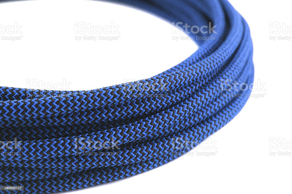 Closeup of blue rope on white background stock photo