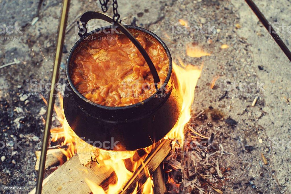 Closeup of boiling potato stew stock photo