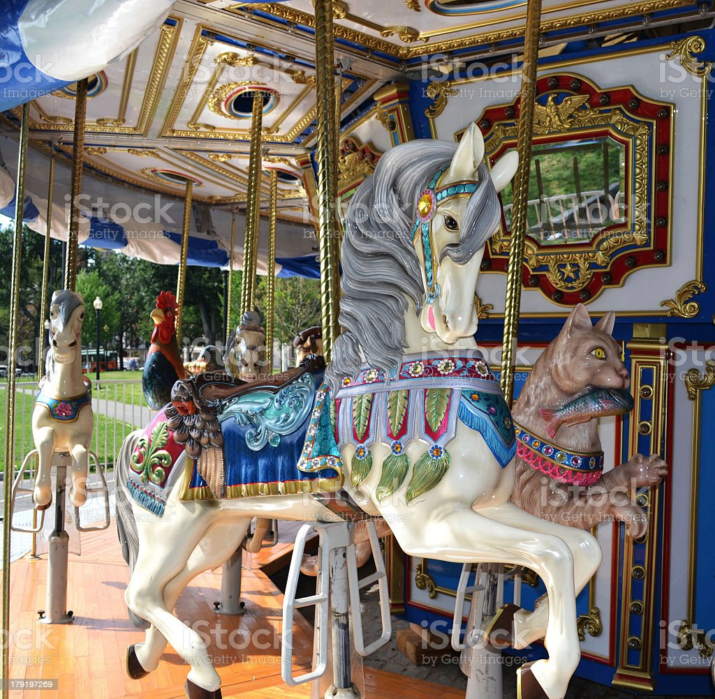 Close-up of Boston Common Carousel Horse stock photo
