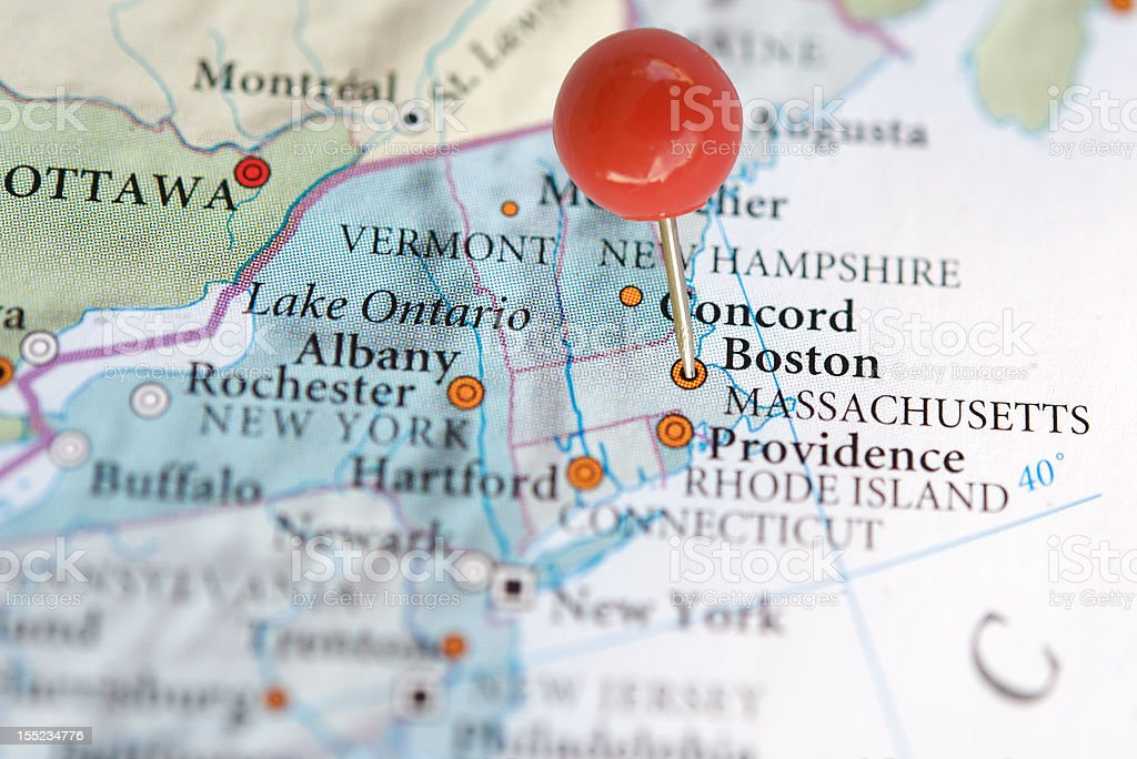 Close-up of Boston on map with pin royalty-free stock photo