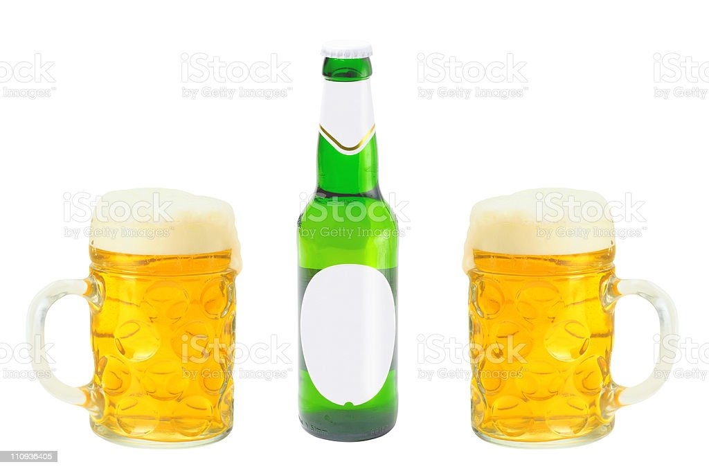 Closeup of bottle and two glasses fresh beer isolated stock photo