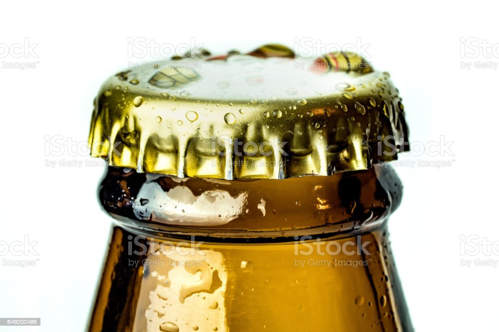 Closeup of bottle neck with cap. stock photo