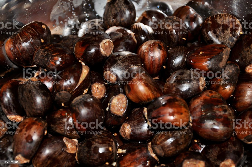 Close-up of bowl full of roasted walnuts, typical of Christmas dinner in Brazil. stock photo