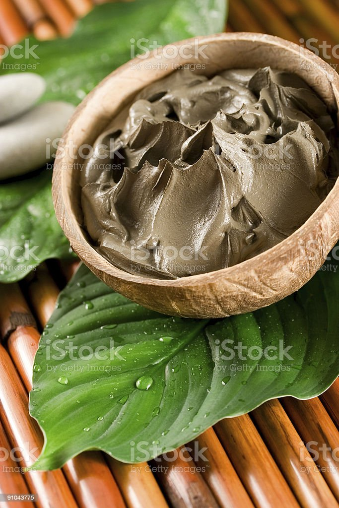 Close-up of bowl of spa mud on top of green leaf royalty-free stock photo