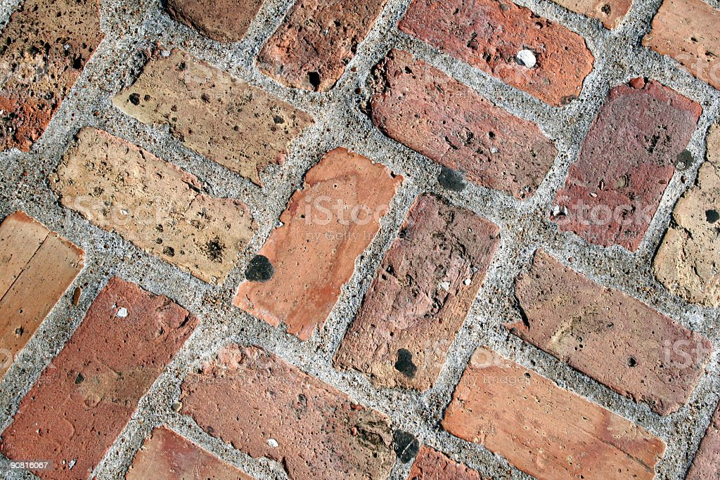 Closeup of Brick Walkway royalty-free stock photo