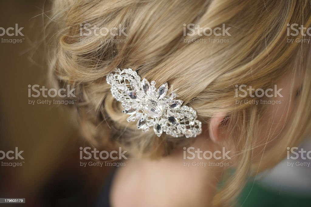 Closeup of Bride's Hair Piece stock photo