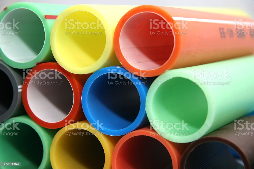 Close-up of bright colorful plastic pipes stock photo