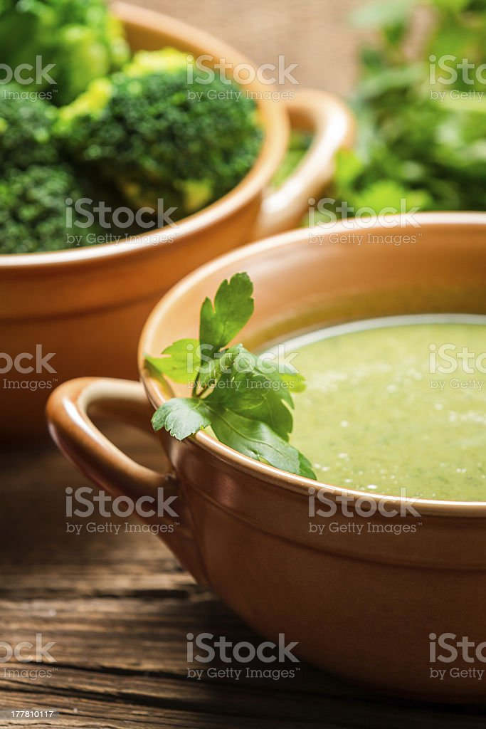 Closeup of broccoli soup with parsley royalty-free stock photo