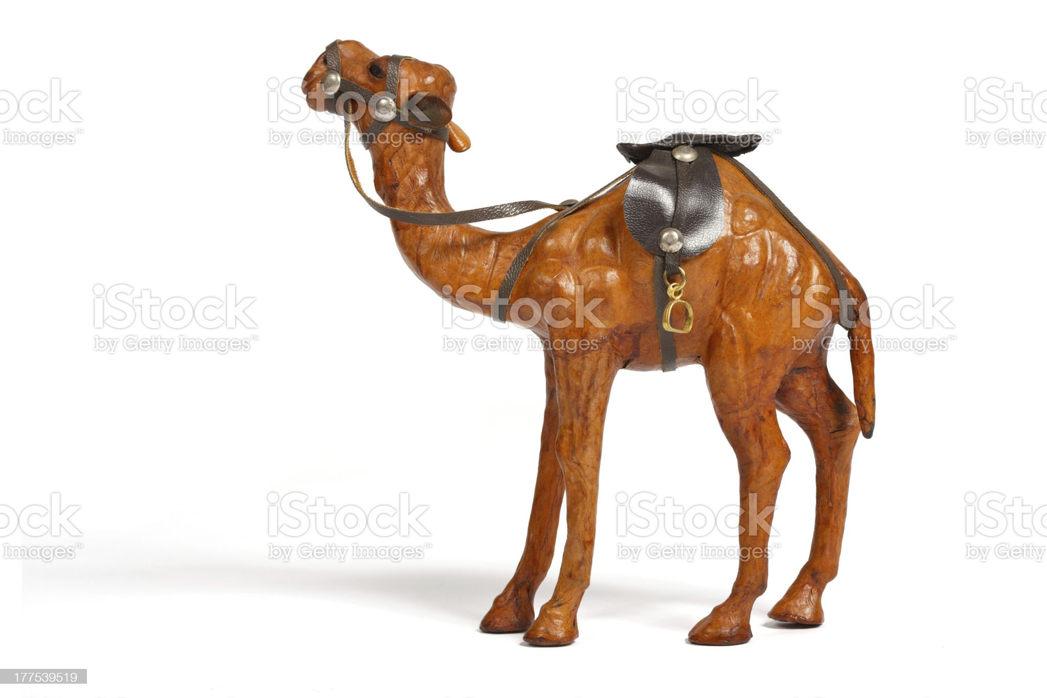 Closeup of brown camel souvenir made from leather royalty-free stock photo