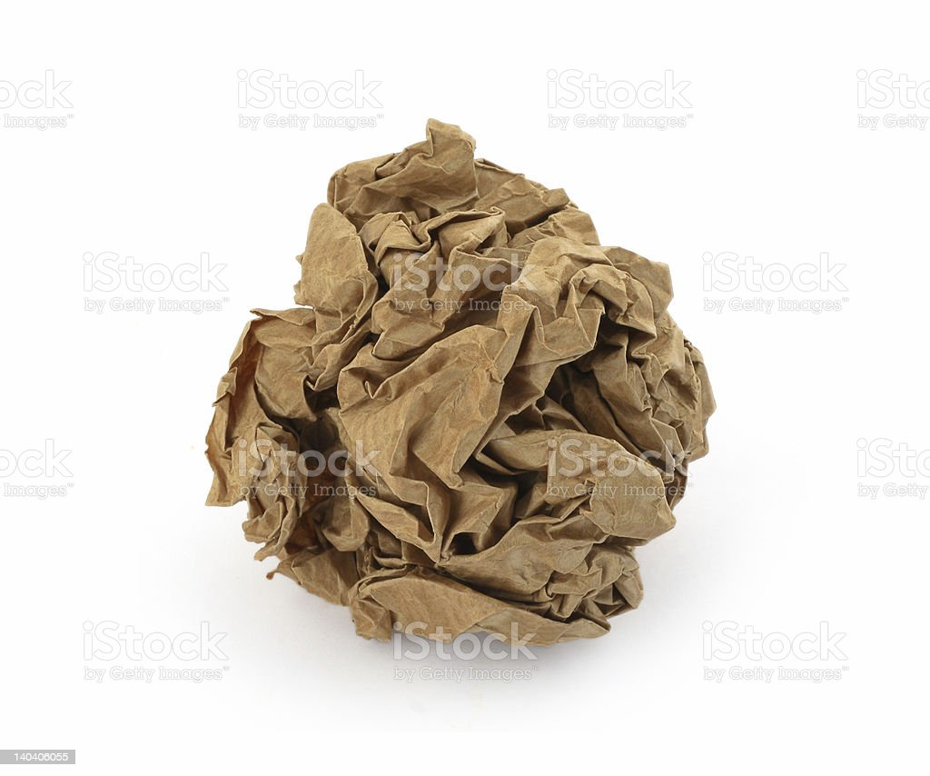 close-up of brown crumpled paper ball royalty-free stock photo