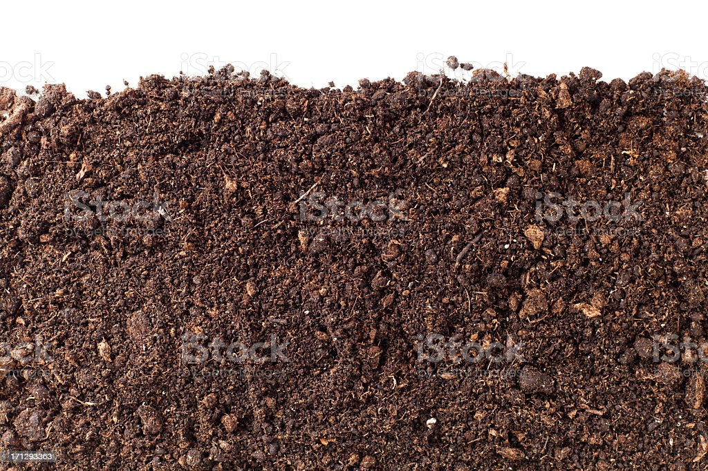 A close-up of brown dirt against a white background stock photo