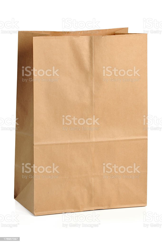 Close-up of brown recycle paper bag stock photo