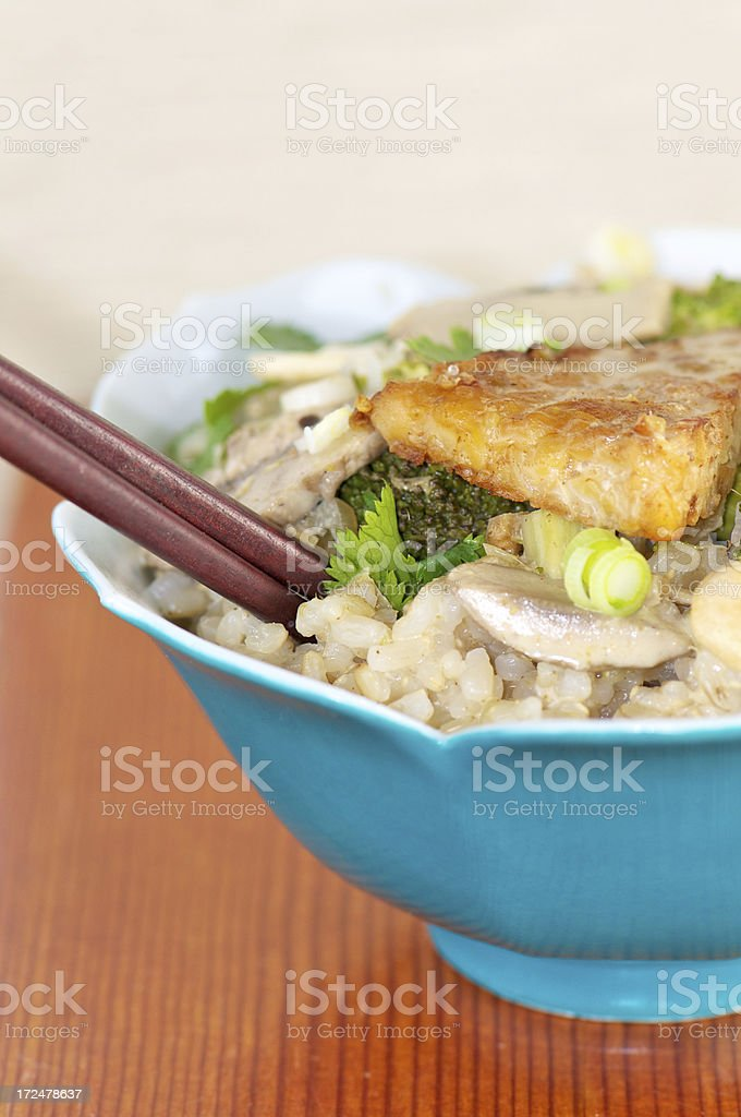 Close-up of Brown Rice with Vegetables and Fried Tempeh royalty-free stock photo