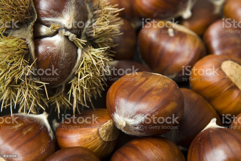 Close-up of brown shelled chestnuts stock photo