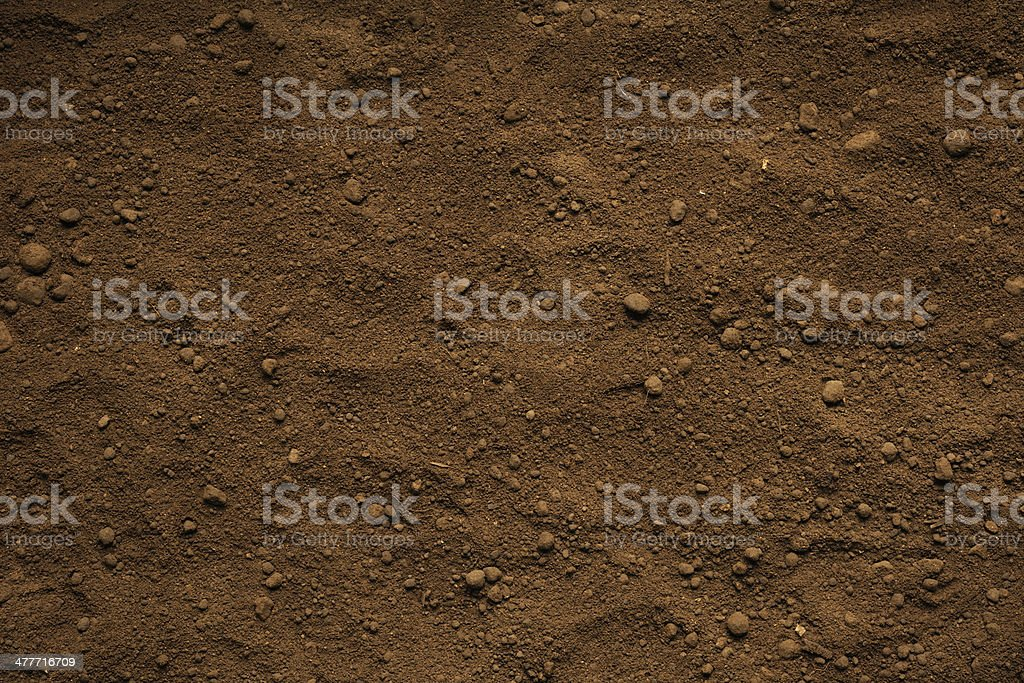 Close-up of brown soil texture background stock photo