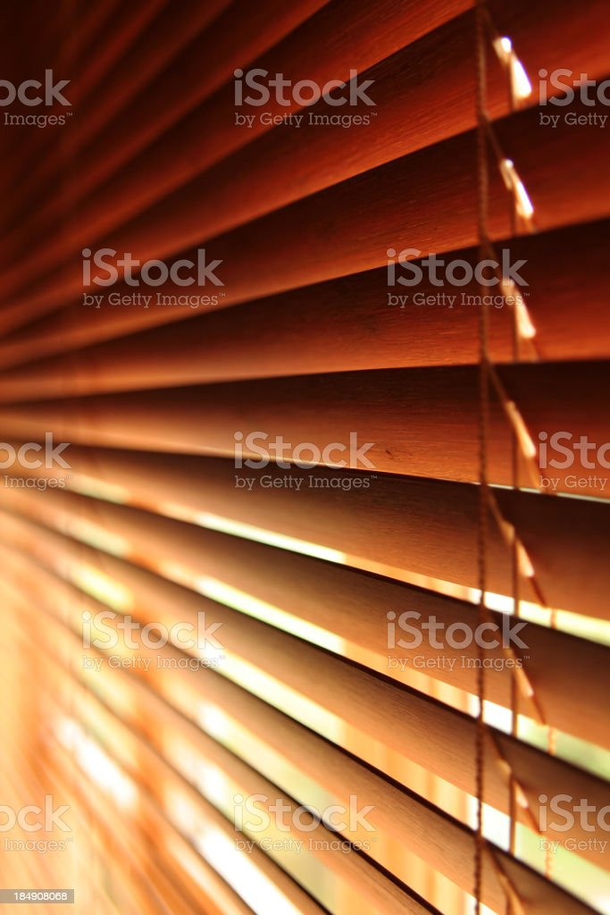 Close-up of brown Venetian blind, jealousies royalty-free stock photo