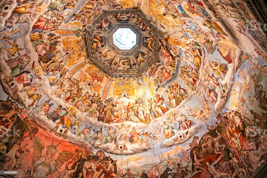 Close-up of Brunelleschi's Dome in the Florence Cathedral stock photo