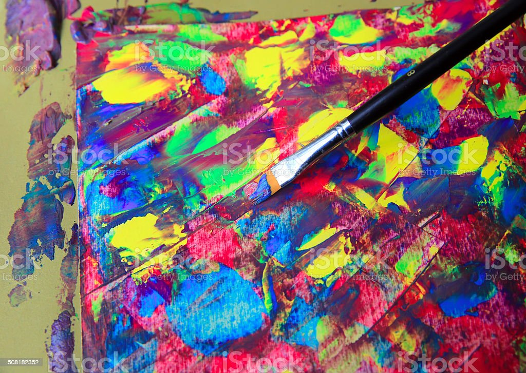 Closeup of brush and palette stock photo