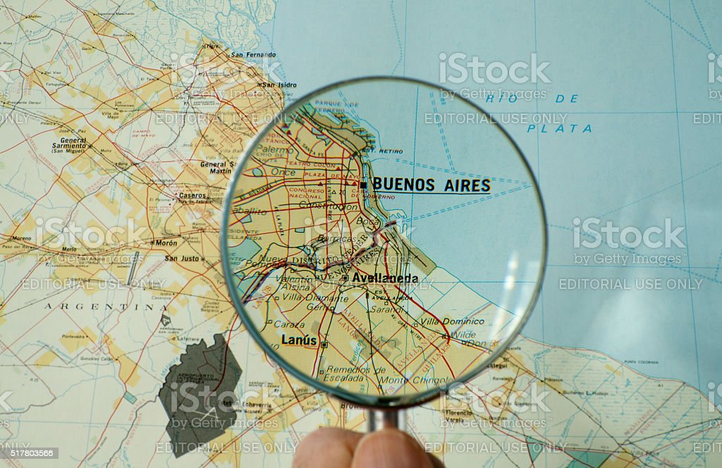 Closeup of Buenos Aires map with magnifying glass stock photo