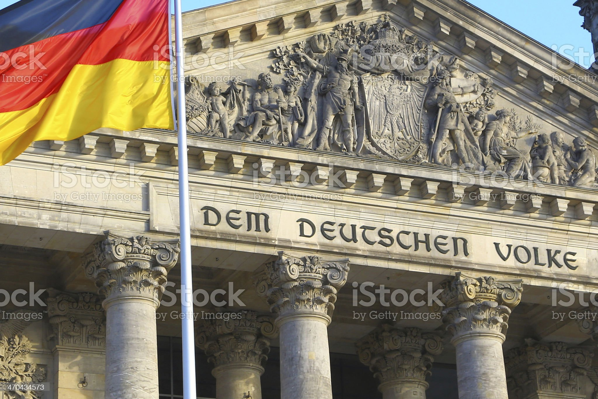 Close-up of Bundestag with german flag, Berlin royalty-free stock photo