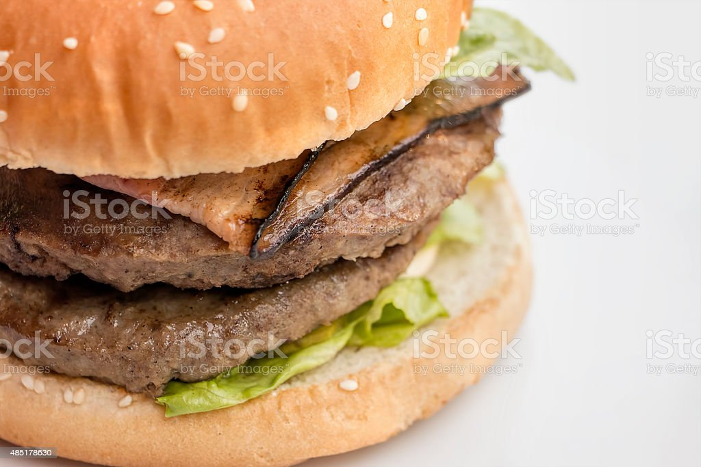 Closeup of burger on white stock photo