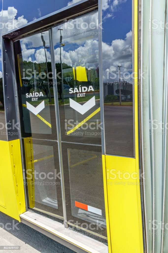 Close-up of bus automatic doors stock photo