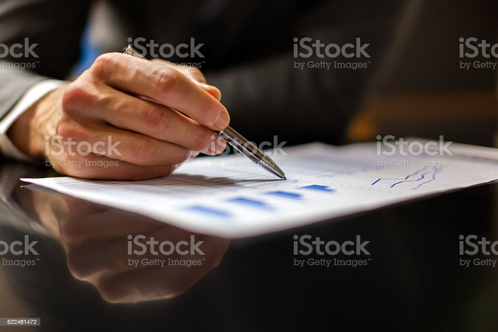 Closeup of business people at work stock photo