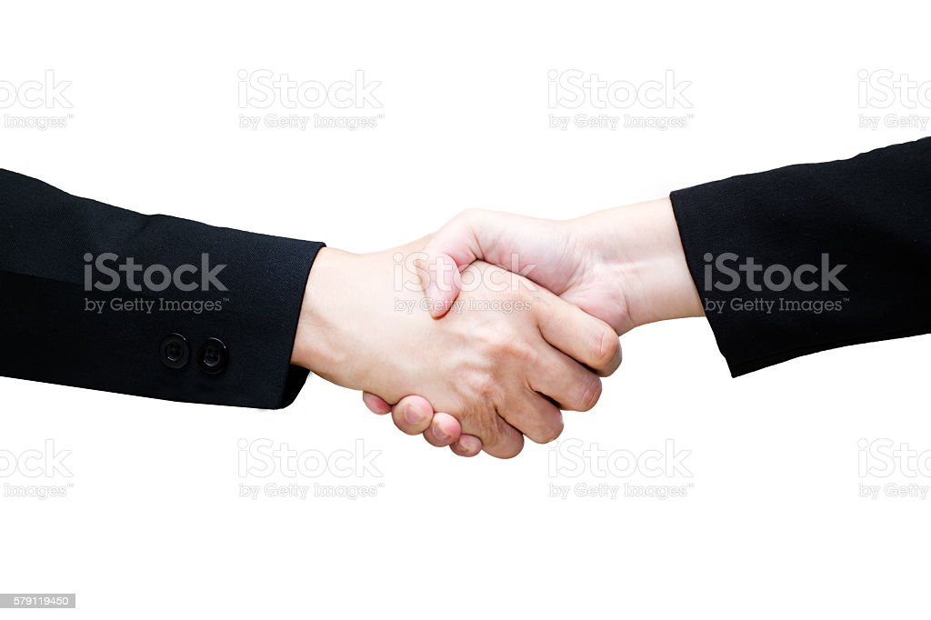 Close-up of business people handshaking on isolate white backgro stock photo