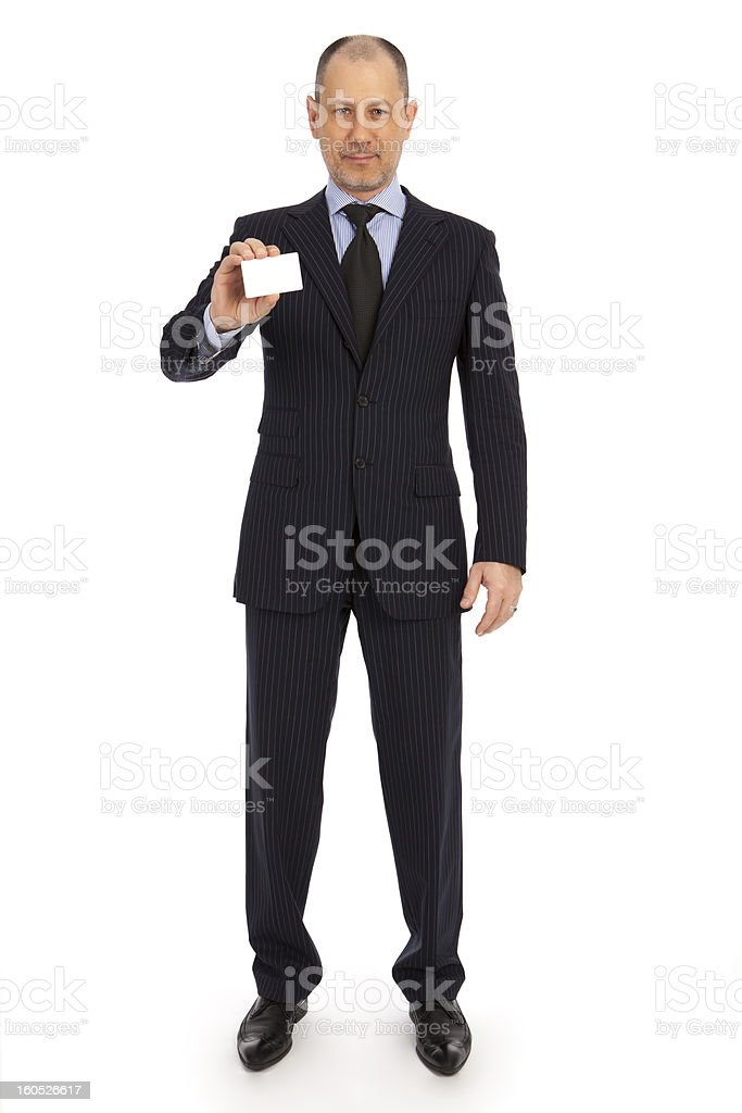 Close-up of businessman showing a business card. royalty-free stock photo