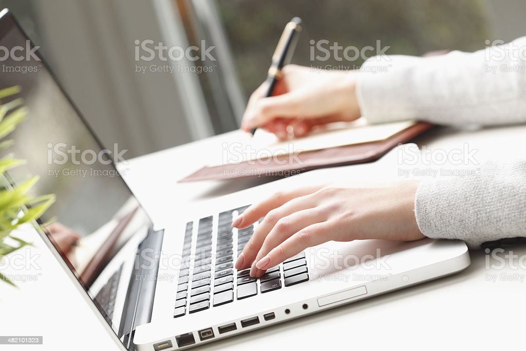 Close-up of businesswoman's hand stock photo
