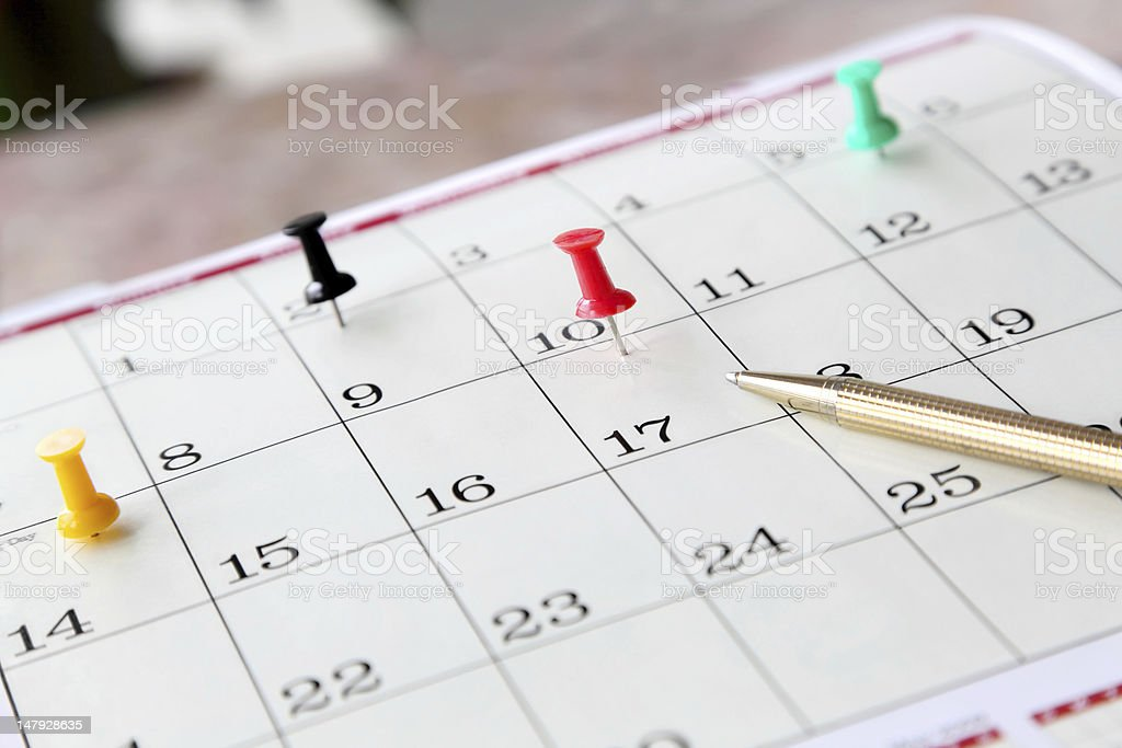 Closeup of Calendar Page royalty-free stock photo