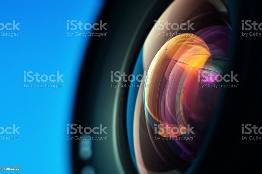 Close-up of camera lens stock photo