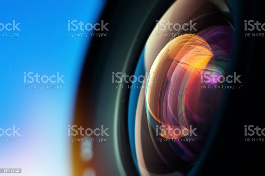Close-up of camera lens stock photo