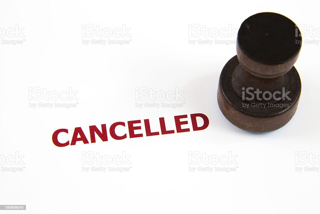 closeup of cancelled letter on rubber stamp stock photo