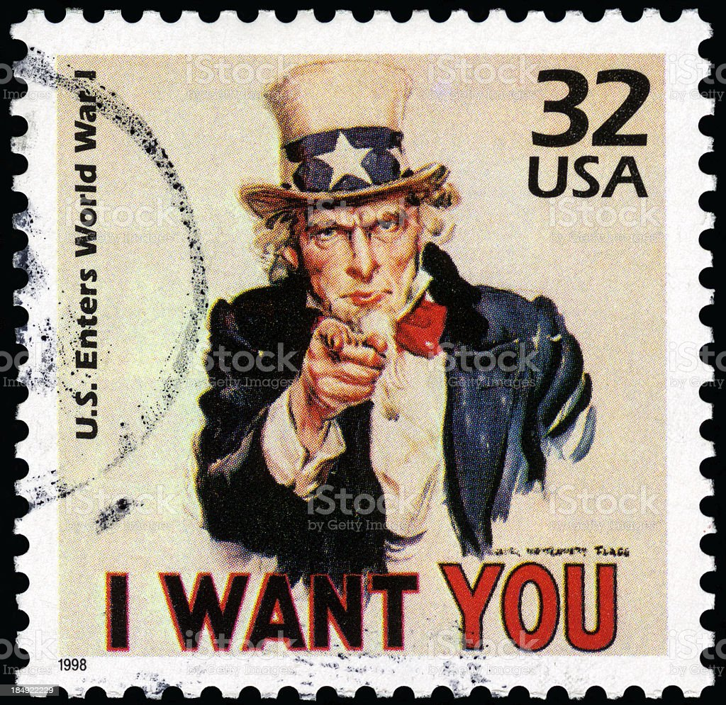 Close-up of cancelled USA Uncle Sam postage stamp stock photo
