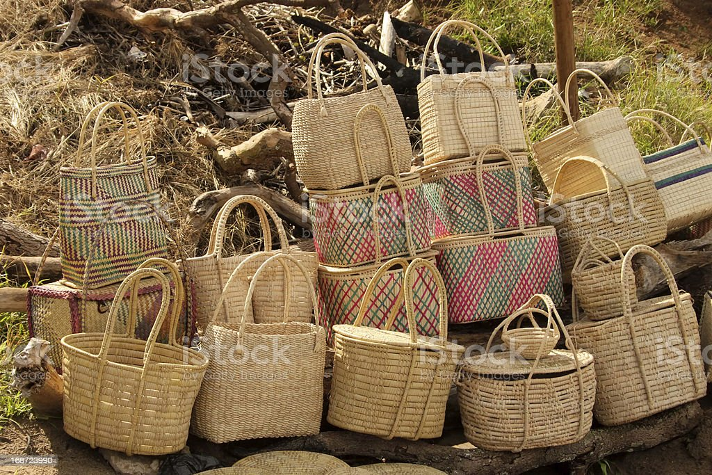 Close-up of Cane Baskets for Sale royalty-free stock photo