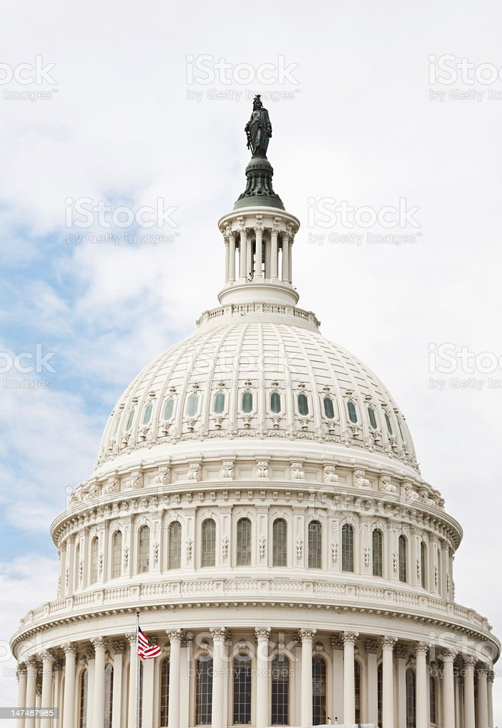 Close-up of Capitol Building Dome, Statue of Freedom, Washington DC. royalty-free stock photo
