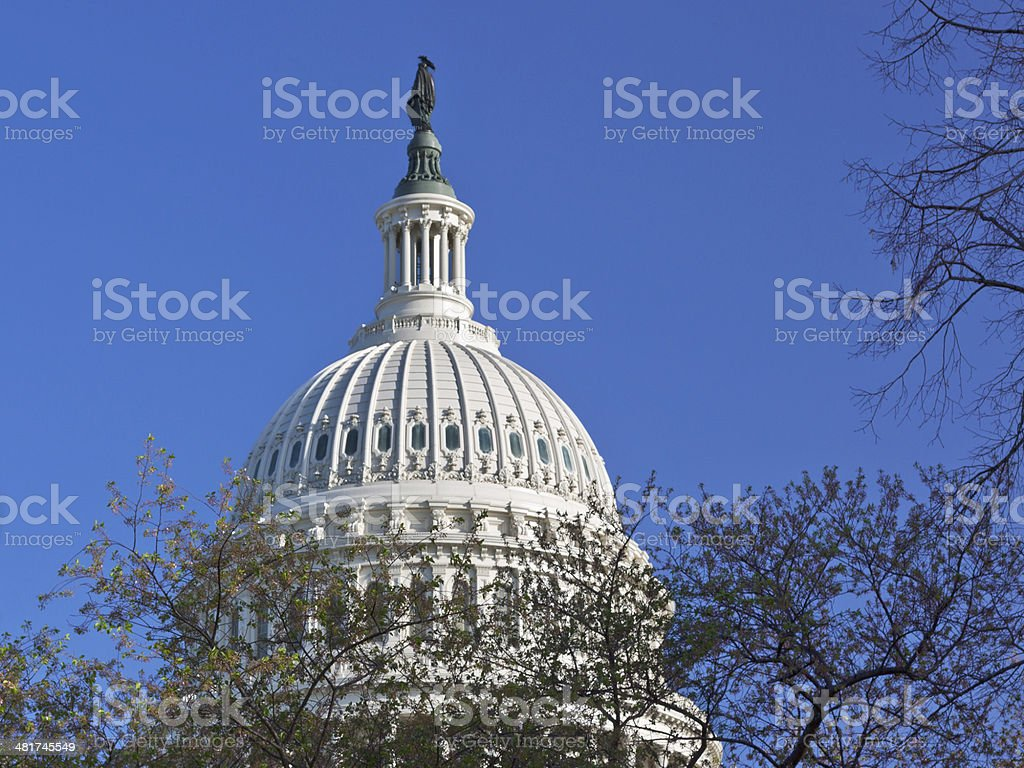 Close-up of Capitol Building Dome, Washington DC. Blue sky. royalty-free stock photo