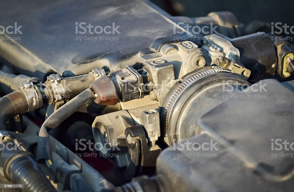 Closeup of car engine stock photo