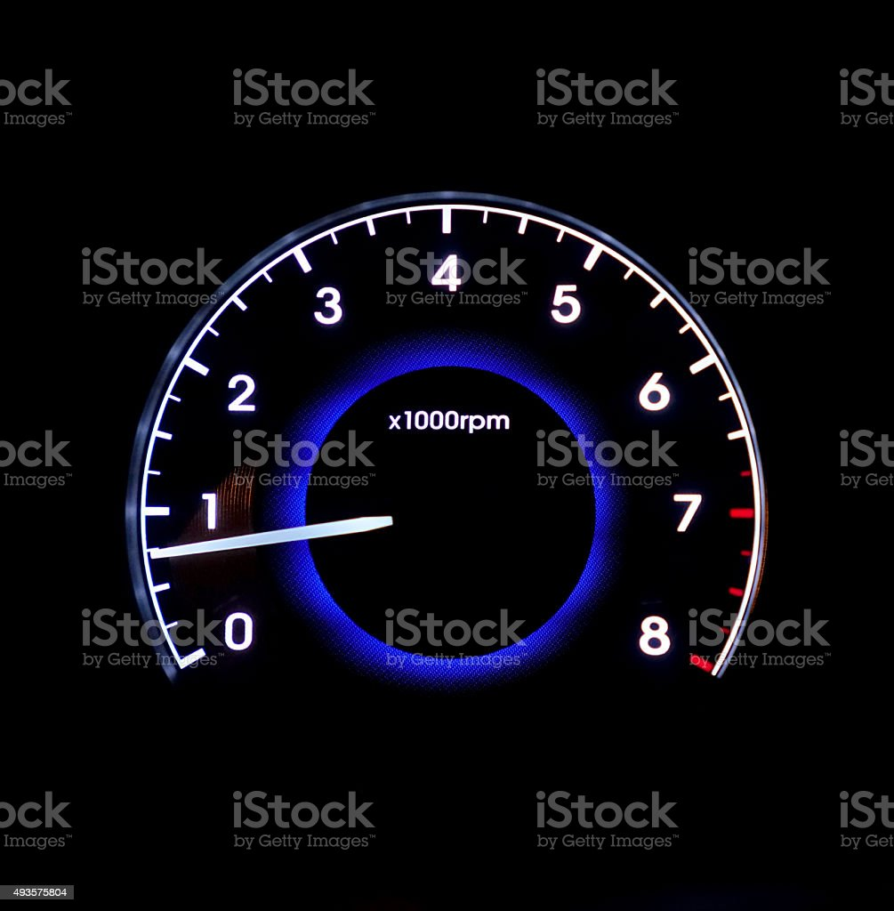 Closeup of car tachometer stock photo