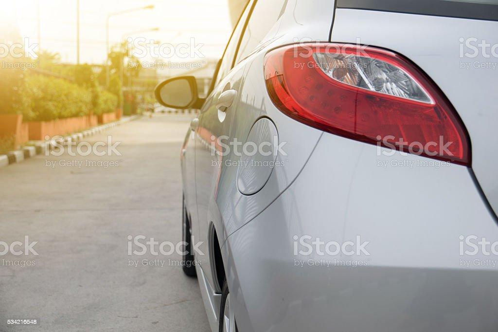 Closeup of car taillight stock photo