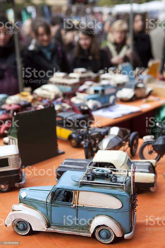 Close-up of car toys at outdoor flea market in Madrid Spain stock photo