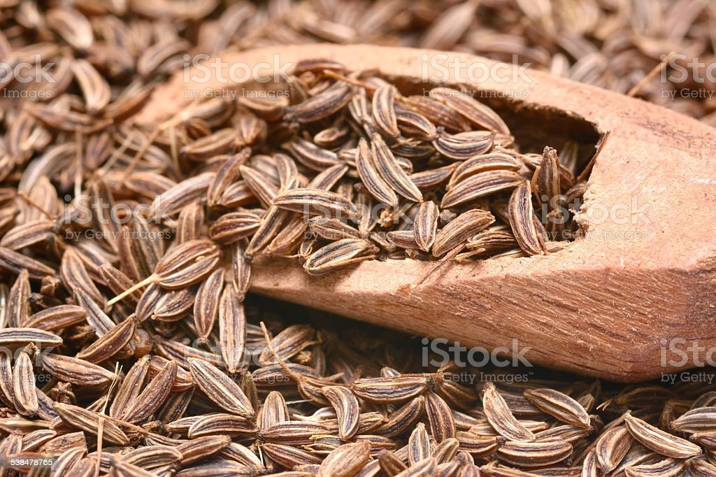 Closeup of caraway-seeds stock photo