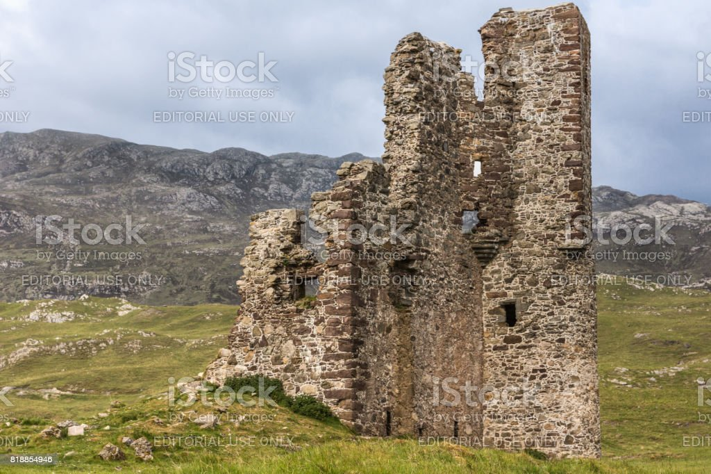Closeup of Castle Ardvrech ruins, Scotland. stock photo